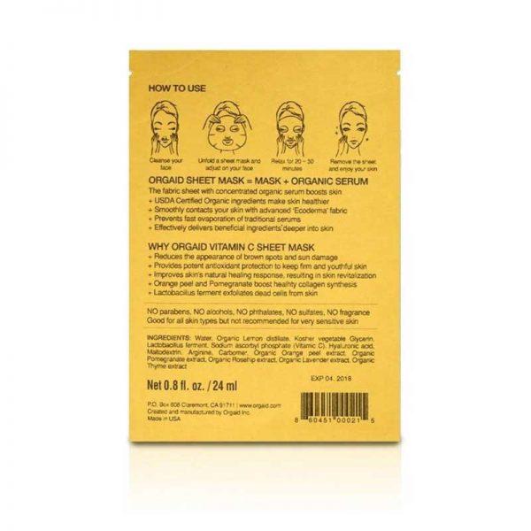 ORGAID Vitamin C and Revitalising Organic Sheet Mask directions